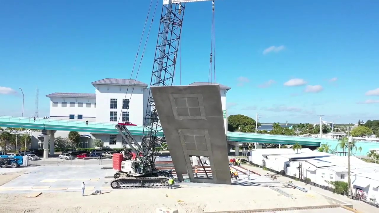 Raising tilt-wall panels at Gulf Star Marina