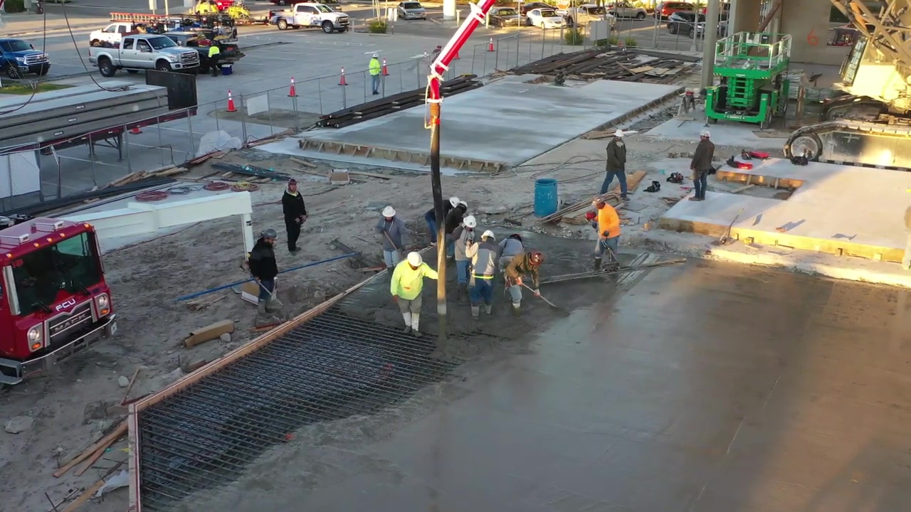 Pouring concrete at Gulf Star Marina